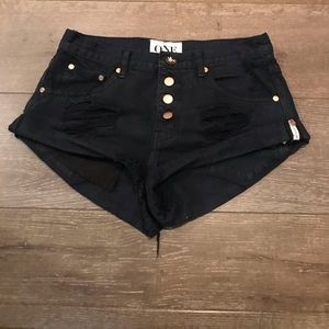 One teaspoon dark navy denim shorts